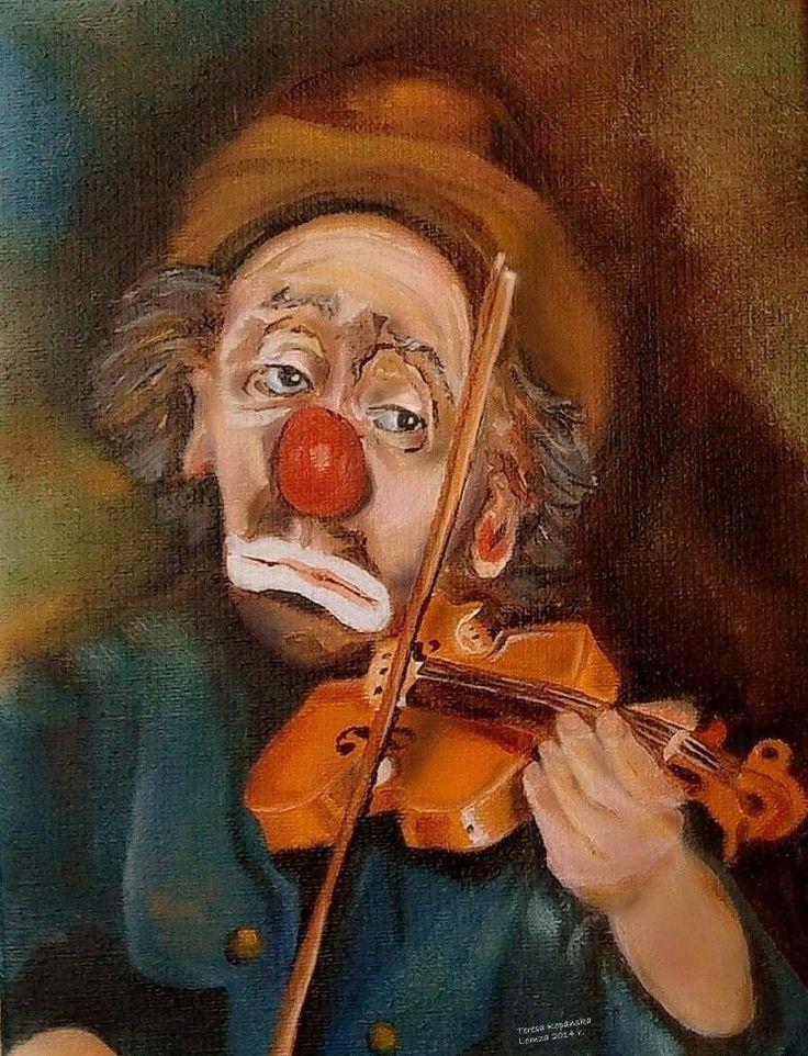 Smutny Klaun  - olej na płótnie, autor: Teresa Kopańska