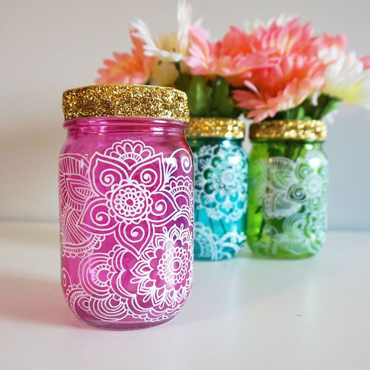 Henna Floral Mason Jar, pink and gold baby shower, bridal shower, Moroccan Bohemian Indian party, centerpiece table decor, eclectic boho by LittleSomethingsGift on Etsy https://www.etsy.com/listing/515729806/henna-floral-mason-jar-pink-and-gold
