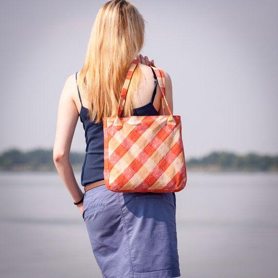 Checkered Orange Beach Bag / Colorful Shoulder Tote by RUKAMIshop