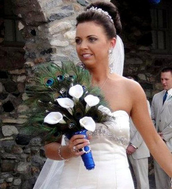 Peacock Weddings Feather Fan Bridal Bouquet Callas Crystals Wedding Flowers Accessories Theme Bride Fall