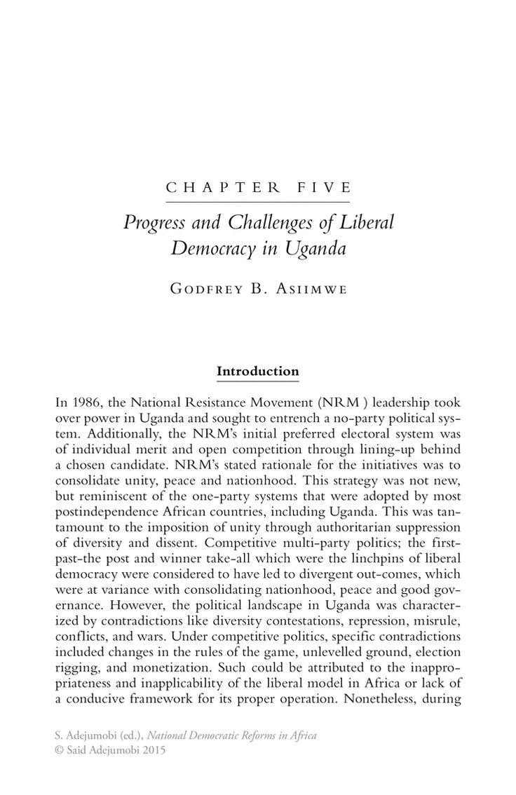 Progress and Challenges of Liberal Democracy in Uganda - Springer