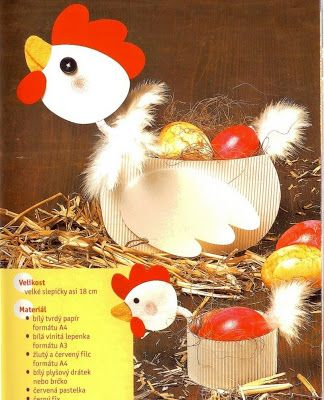 chicken box for Easter eggs - spring/Easter paper craft pattern