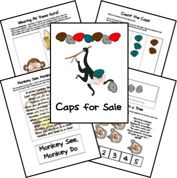 Here is a FREE Caps for Sale Lapbook. This pack includes themes such as monkeys, hats, count the caps, coins, piggy bank, cooking, design a cap,