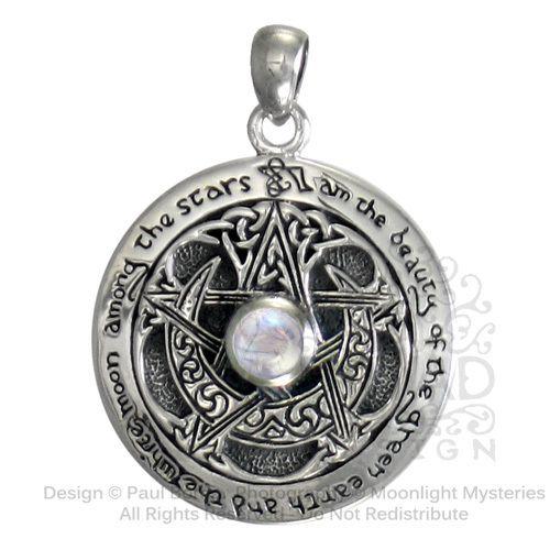 Sterling Silver Moon Pentacle Pentagram Pendant Rainbow Moonstone Wiccan Jewelry