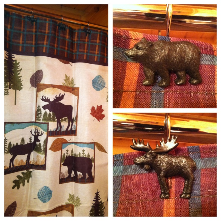 Bear Moose Shower Curtain And Hooks Hilltophideawaycabin Cabin Ideas Pinterest Hooks