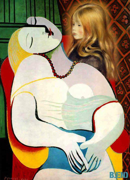 Pablo #Picasso, the Dream  | Pierre Auguste #Renoir, Head of a Child (Edmond Renoir) #blend #art #paintings
