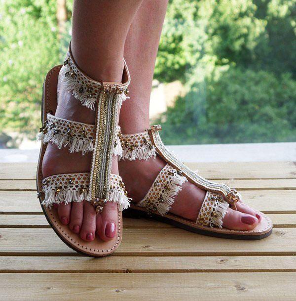 "Handamade Leather Sandals, Luxury Sandals, Bridal sandals, Strappy Greek Sandals, Gladiator Sandals, Wedding Sandals  "" Ariti"""