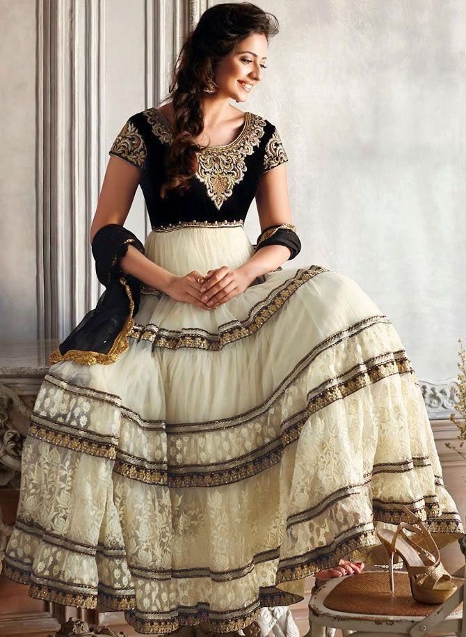 Off White Net #Churidar #Anarkali #Suit