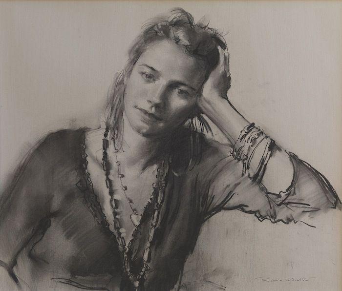 Robbie Wraith 'Nicole' charcoal portrait drawing