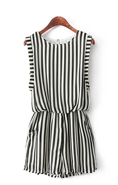 Vertical Stripes Printing Chiffon Jumpsuit