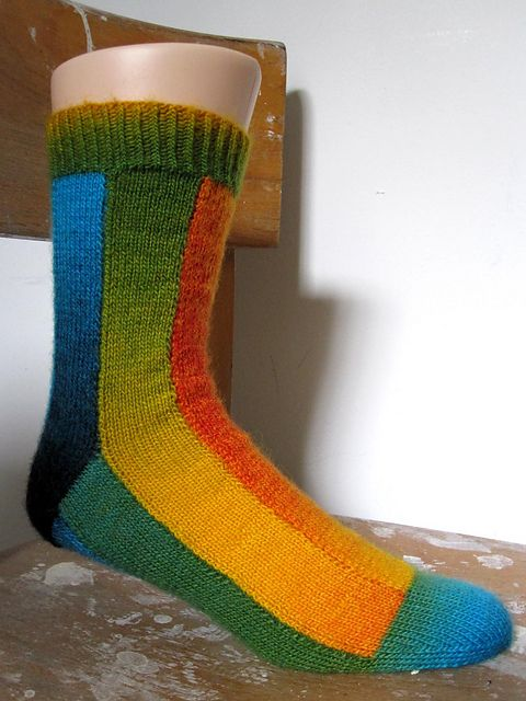 """""""Stripe Tease"""" #knit sock pattern that uses self-striping/gradiation dyed yarns to dramatic effect. Free pattern written by Ravelry user 'braindead' (this design is certainly proof of that being one of those ironic monikers...)."""