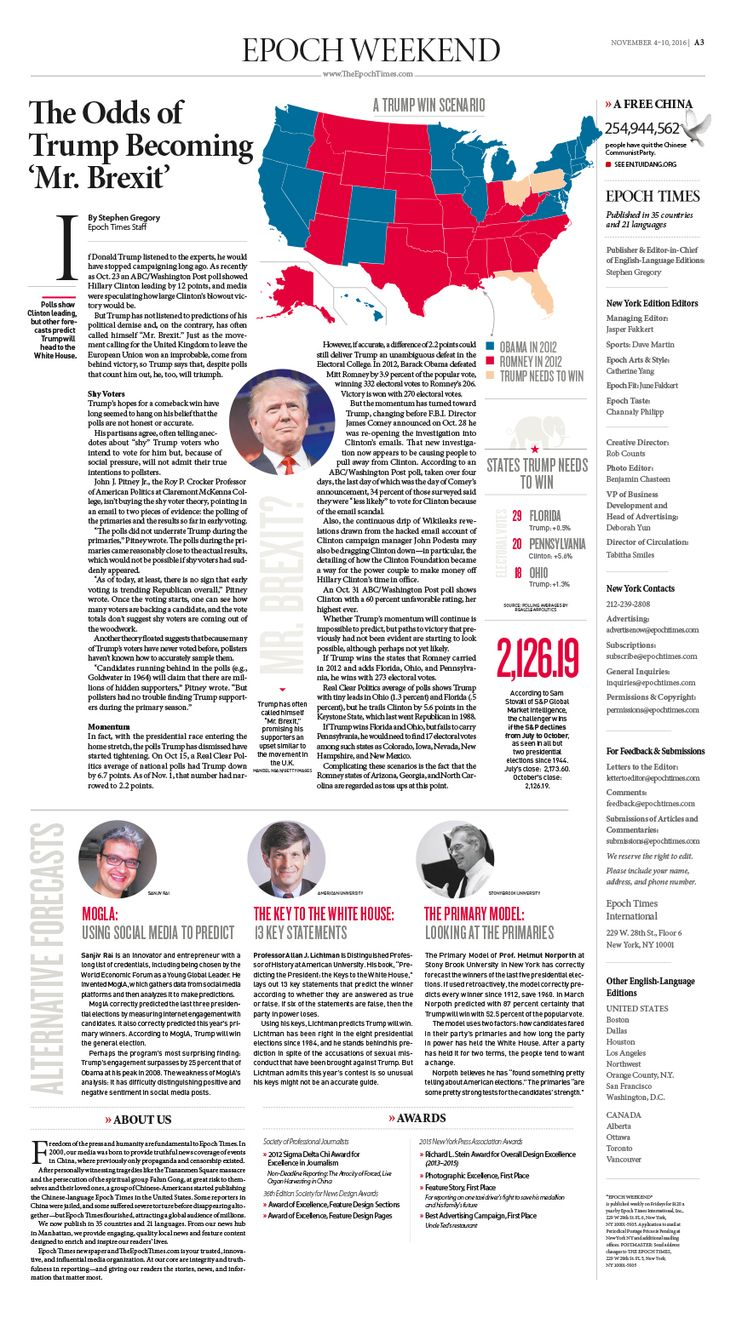 The Odds of Trump Becoming 'Mr. Brexit' Epoch Times #newspaper #editorialdesign