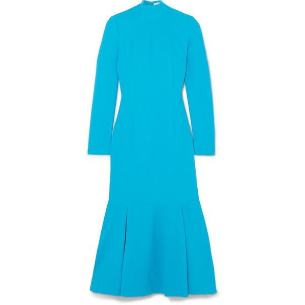 Emilia Wickstead Prudence cloqué turtleneck midi dress found on Polyvore featuring dresses, azure, mid calf dresses, turtle neck dress, turtleneck dresses, high neck dress and high neckline dress