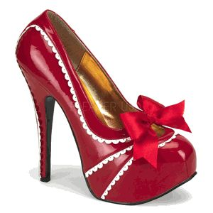 """TEEZE-14, 5 3/4"""" Heel Concealed Platform With Scalloped Trim in Red Patent"""