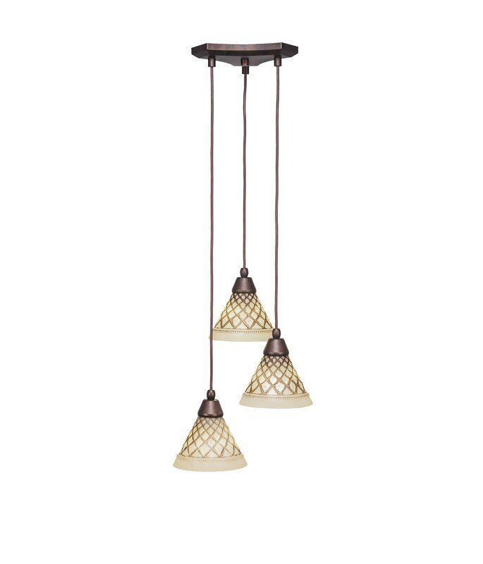 Nessa 3 Light Cluster Cone Pendant In 2020 Cone Pendant Light Tiffany Stained Glass