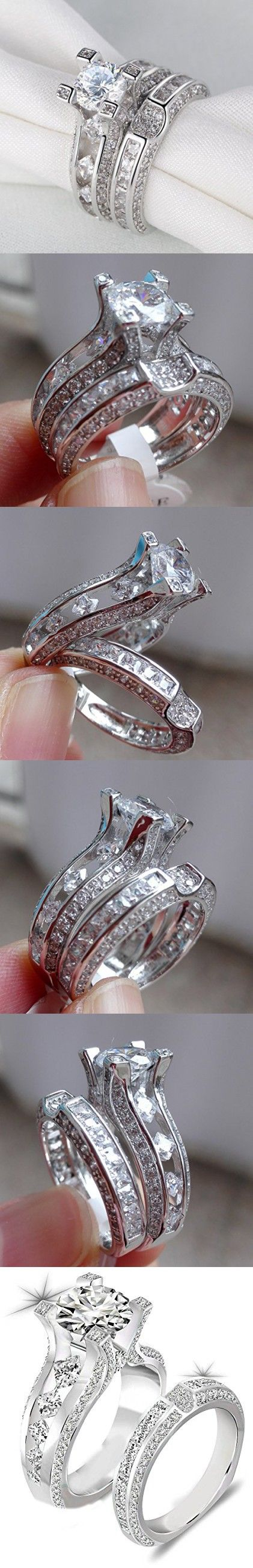 Newshe Jewellery 3ct Round Cz 925 Sterling Silver Wedding Band Engagement Ring Sets Size 7