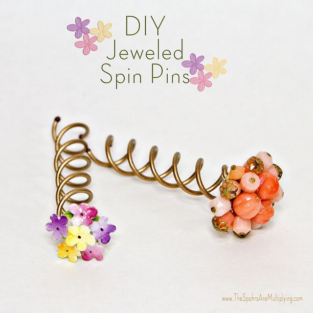 DIY Jeweled Spin Pin by The Spohrs Are Multiplying..., via Flickr