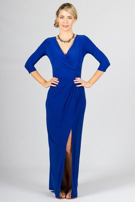 """Mia Maxi Dress - Cobalt - Paper Scissors Frock  Long Sleeve Frock with Deep-V neckline, wrap style skirt which opens into a split when you walk. Subtle pleating when the skirt meets the bodice.  Made from high quality ITY Matt Polyester.  Pictured Model 5'8"""""""