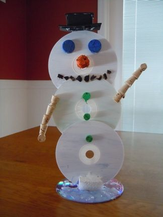 recycling crafts - cd snowman