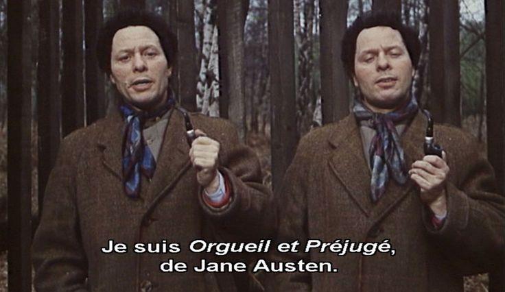 """""""Farenheit 451"""" (toujours)  (Spoiler) A la fin du film, Montag (Oskar Werner) le plus zélé des pompiers, rejoint le camp retranché des hommes-livres. Dans la forêt, ces jumeaux pipés (malicieusement nommés Orgueil et Préjugé) ont appris par cœur le classique de Jane Austen pour le transmettre, à l'oral, aux générations futures."""