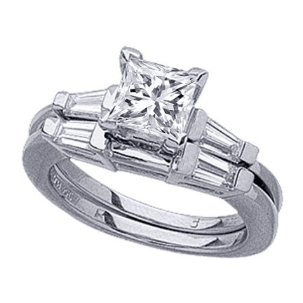 Princess Diamond Engagement Ring with Tapered Baguette Diamond Accents  Matching Wedding Band