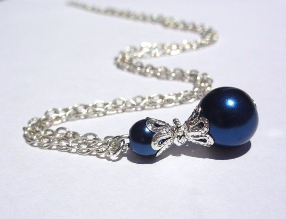 Necklace Bridesmaid Necklace Blue Pearl by StunningGemsJewelry
