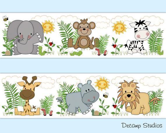 Safari Animals Decals Baby Nursery Wallpaper Border Wall Art Etsy In 2021 Safari Animals Decor Nursery Wallpaper Boy Baby Nursery Wallpaper