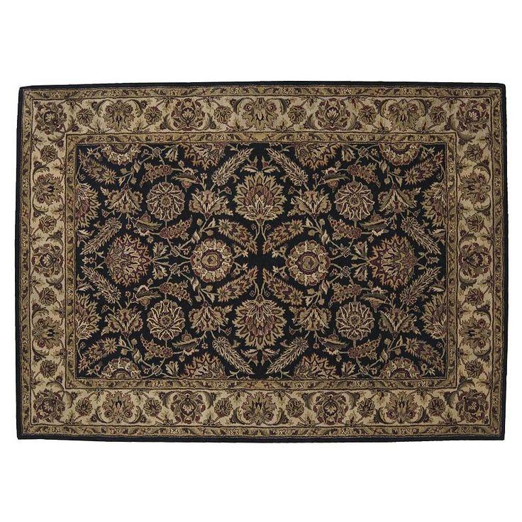 Nourison Jaipur Traditional Framed Floral Wool Rug, Black