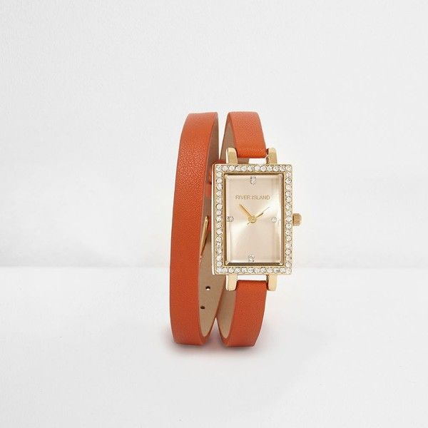 River Island Orange double wrap rectangle face watch ($70) ❤ liked on Polyvore featuring jewelry, watches, orange, women, river island, diamante jewelry, wrap around watches, drusy jewelry and rectangle face watches