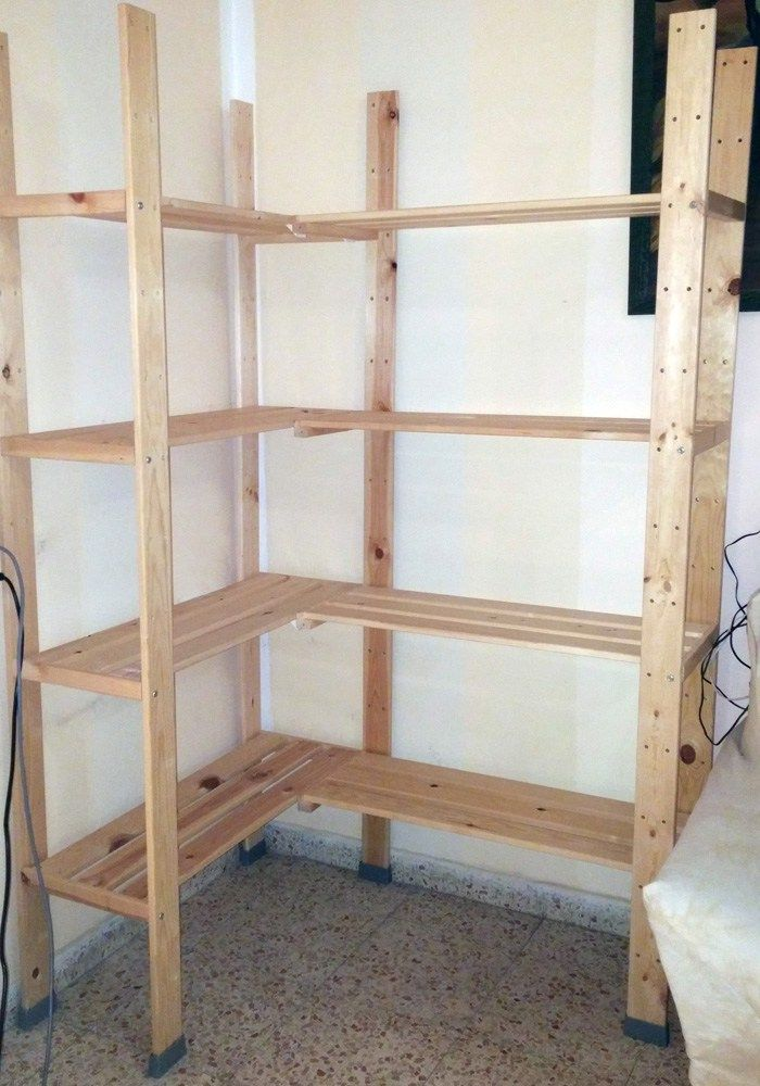 hejne corner shelf unit in one easy step diy for the home rh pinterest com  how to build corner shelves in a closet