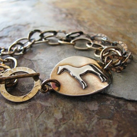 Horse Jewelry, Artisan PMC, Handmade Fine Silver Arabian Horse Link with Sterling Bracelet