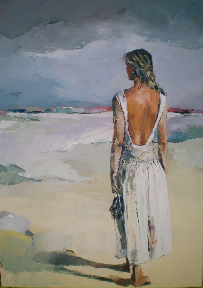 peinture à l'huile au couteau représentant une jeune femme se promenant ,vue de dos.