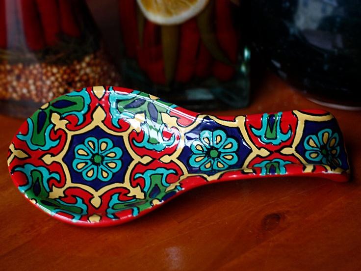 "Red, Yellow & Teal Talavera Style Ceramic Spoon Rest -- ""Royal Starburst"". $24.95, via Etsy."
