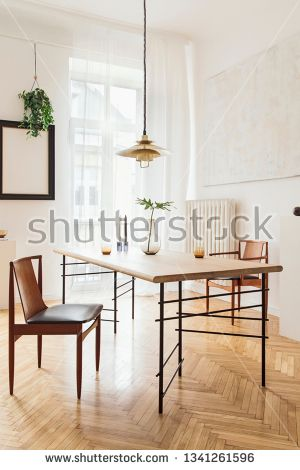 stock photo sunny and elegant dining room interior with design rh pinterest com