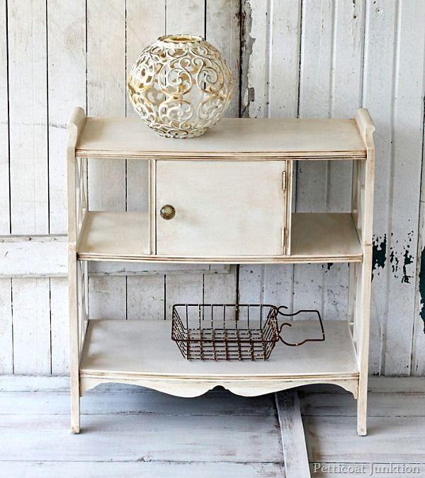 Learn how to give white painted furniture an antiqued look. Product info at Petticoat Junktion