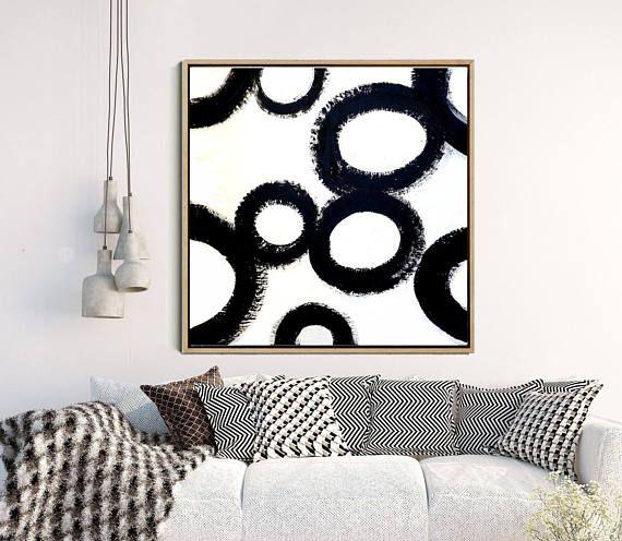 Black And White Wall Art, Abstract Art, Circle Print, Abstract Paintiing, Minimalist Print Giclee Print, Home Decor, Wall Decor,