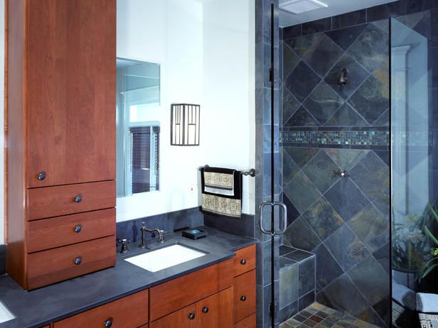 Lighter tall cabinet would work if go with one large sink and vanity.