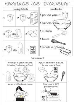 Fiche recette du gâteau au yaourt (maternelle)