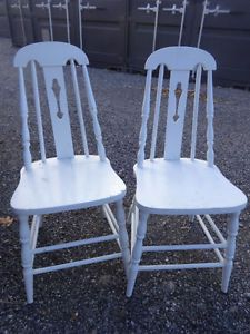Antique Vintage White Painted Wooden Chairs Kitchen Wood german