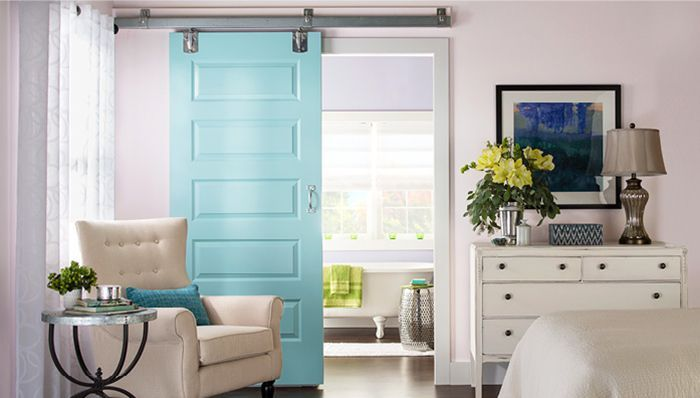 A contemporary sliding door is a stylish transition between rooms. Pump up the volume with a bold color.