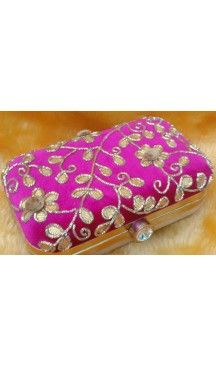 Pink Color Embroidery Work Women's Fashion Clutch Purse | FH10351403 Follow Us @heenastyle  #Embroidery #Clutch #Fashion #Bags #Online #Clutchbag #BagsOnline #OnlineShopping #Heenastyle
