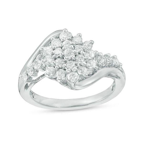 3 4 Ct T W Composite Diamond Starburst Bypass Engagement Ring In 10k White Gold White Gold Engagement Rings Rings