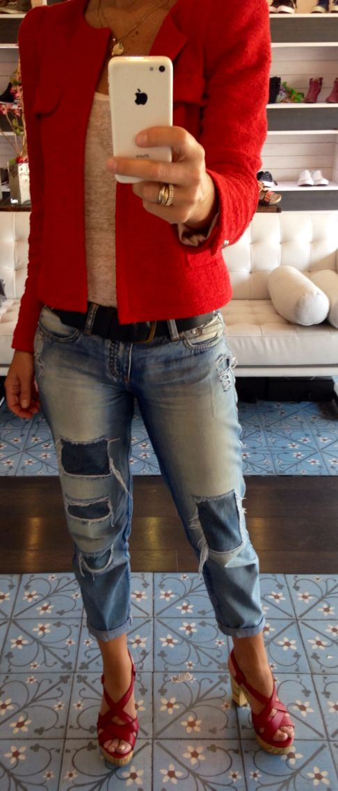 Red wood heels and boyfriend jeans