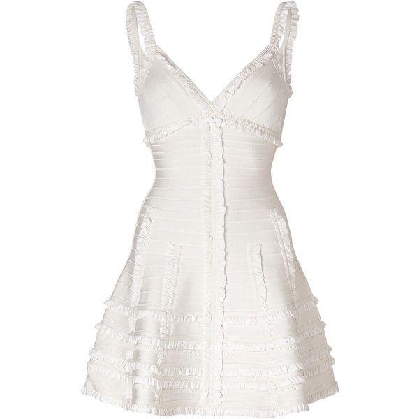 HERVÉ LÉGER Dress in Alabaster ($1,102) ❤ liked on Polyvore featuring dresses, vestidos, short dresses, v neck mini dress, herve leger dress, white dress, white ruffle dress and corset dress