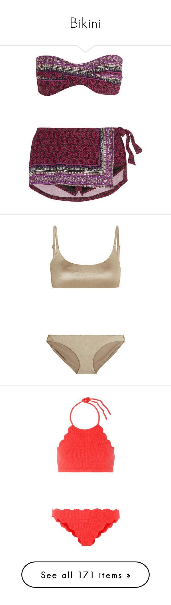 """Bikini"" by bliznec ❤ liked on Polyvore featuring swimwear, bikinis, 2 piece swimwear, bandeau swimwear, 2 piece bikini, colorful bikini, multicolor bikini, bronze, calvin klein and metallic swimwear"