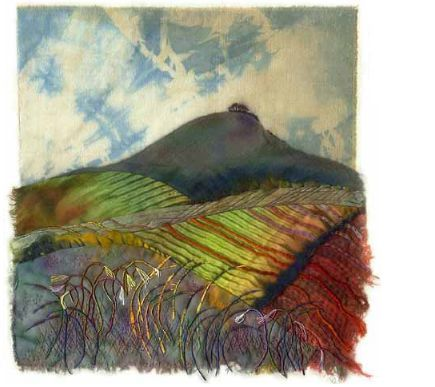 """""""Woodborough Hill"""" by Margaret M. Roberts Textiles / mixed media   30cm by 30cm"""