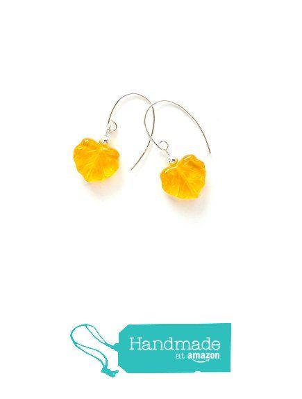 Lovely golden yellow maple leaf earrings - with high quality pressed glass beads - solid sterling silver 925 ear wires from Lore & Meaning https://www.amazon.com/dp/B01MT4XEN9/ref=hnd_sw_r_pi_dp_n5uAybZ8H1RWN #handmadeatamazon