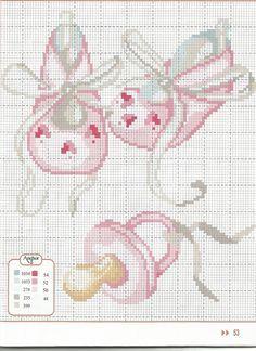 schemi punto croce scarpine rosa con ciuccio - Cerca con Google