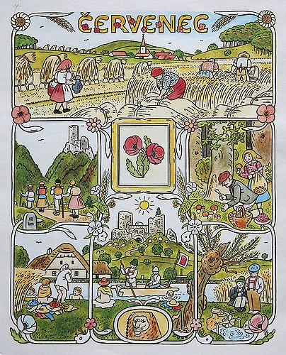 https://flic.kr/p/47DNsT | Josef Lada Calendar: July | josef lada. illustration. calendar. czechoslovakia. july