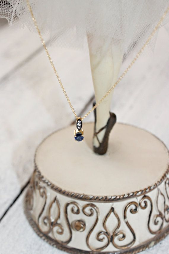 Natural Sapphire Necklace, Blue Sapphire Necklace, Diamond Necklace, Solid Gold Necklace & Chain, 18k Gold Diamond, Sapphire Gold Charm